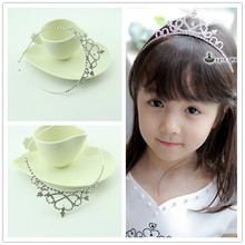 children rhinestone heart headband metal princess flower kids crown  girl hair tiara band kids hair accessories
