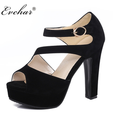 women square super high heels shoes sexy lady platform Rome summer fashion peep toe pumps buckle strap party shoes size 31-43(China)
