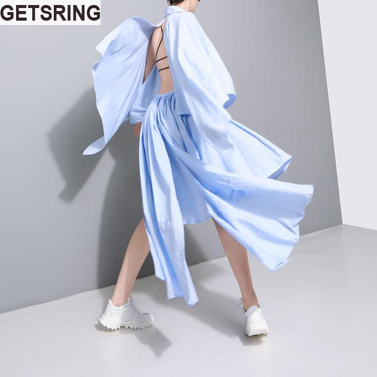 GETSRING 2017 Summer New Women Cotton Cloak Sleeves Halter Asymmetry Dress Notched Casual Black White Blue Stripes 3 Color NW345(China (Mainland))