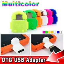 6PCS/Set Multi Color Option Robot Shape Android Micro USB To USB 2.0 Converter OTG Adapter For Android Tablet PC Mobile Phone
