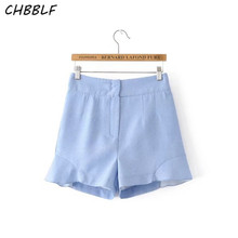 New Summer 2017 Europe Laminated Decorative Shorts High Waist Casual Women Shorts Wdf096