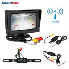 "4.3"" TFT LCD Monitor Car Rear View Camera Wireless Transmitter Receiver Backup Reverse Camera Parking System Night Vision(China)"