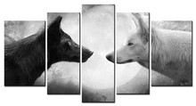 5 Panels Unframed Canvas Photo Prints Wolves on The Background of The Moon Wall Decorations Artwork Giclee Paintings Home Decor(China)
