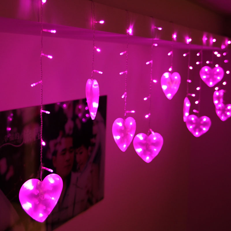 3m 120 bulbs LED Heart Curtain string garland lights indoor lighting Christmas lights Holiday party home room decoration lamps<br><br>Aliexpress