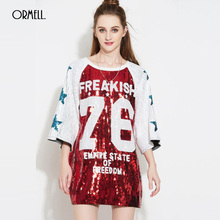ORMELL Fashion Number Print Glitter Girls T-shirt 2017 Summer O Neck Half Sleeve Pullover Lady T-shirts Party Women Loose Tops(China)