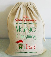 Modern Style Decorative Santa Clause Custom Christmas Santa Sack with Name Magic Xmas Bag with Drawstring Pary Accessories Favor