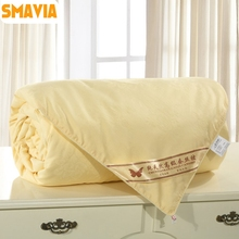 SMAVIA High Quality Silk Quilt 100% Mulberry Silk Comforter 100% Cotton Embossing Fabric Winter/Spring Blankets Accept Custom(China)
