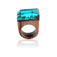 Fashion Rose Blooming Secret Forest Wooden Miniature Worlds Inside Ring For Women Resin Finger Jewelry Accessories Gift(China)