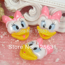 Kawaii Flatback DIY Daisy Duck Resin Cabochons Flat Back Scrapbooking Decoration Crafts Making For Hair Bow Centers:20*30mm