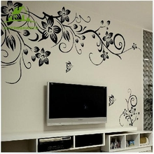 Black flower vine Vinyl Wall Stickers Kids Rooms Home Decor Sofa bedroom bathroom Art Decals DIY 3D Wallpaper decoration
