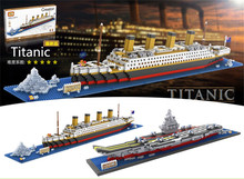 LOZ Diamond Blocks Titanic Small size DIY Building Toys Aircraft Carier Auction Figures Juguetes  Boy Gifts Kids Toy 9389-9390