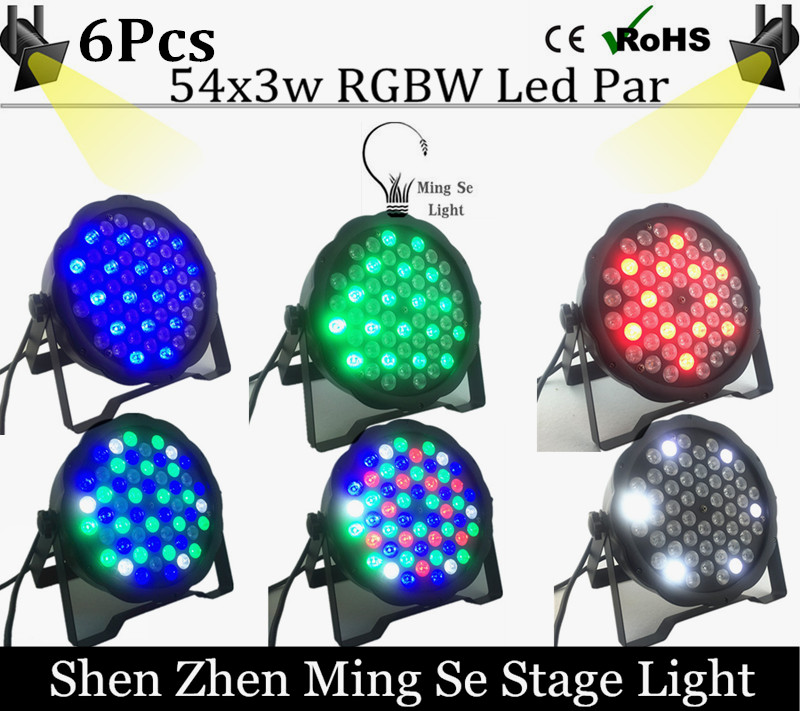 6units/lots  54X3W RGBW LED Par Light LED PAR DMX512 controller led lights, disco lights DJ equipment<br>