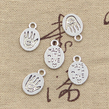 99Cents 15pcs Charms hand made with love 15*10mm Antique Tibetan Silver Pendant Findings Accessories DIY Vintage Choker Necklace