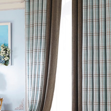 Soft Plaid Bedroom Drape Curtains Blackout Thick Window Panels Dark Green Sheer Blind Thermal Insulated Home Curtains For Window