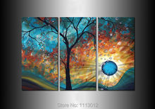 100% Handmade Modern Tree Sun Moon Oil Painting On Canvas Landscape Wall Picture For Living Room 3 Piece Art Sets Frameless Sale