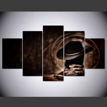 YSDAFEN 5 panel cowboy hat and boots hd Art print canvas art wall framed paintings for living room wall picture ny-448