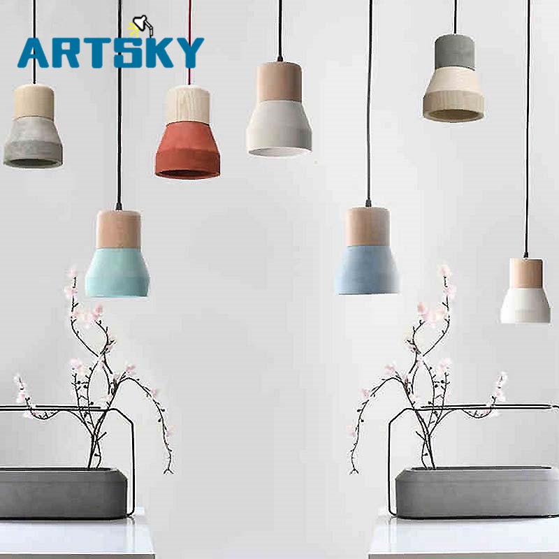 American Country Style Cement Pendant Lights 120cm wire E27 Socket Pendant Lamp wood indoor Decoration Hanging Lamp<br>