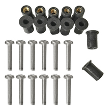 Durable 12 Pcs Marine M4/5/6 Rubber Well Nuts Kit Stainless Steel Screws for Kayak Canoe Inflatable Fishing Boat Dinghy Access
