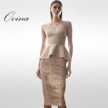 Nude V Neck Sleeveless Ruches Tops Knee Length Gold Stamping 2 Pieces  Bodycon Bandage Women Sets e7be26e74559