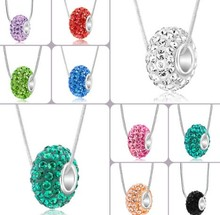 new !Mix color crystal shamballa necklace Resin Rhinestone Silver Big Hole crystal 10*14mm european beads(China)