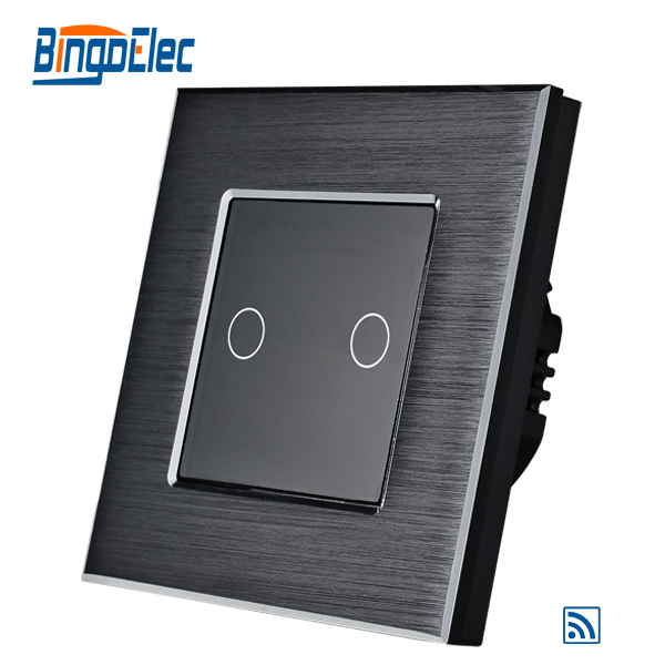 EU/UK Type 2gang 1way Remote Touch Screen Switch Black Aluminum Franme Black Glass Pannel Wall Light Switch 433.92MHZ 86*86cm <br>
