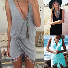Women One Piece Tassel Beach dress Swimwear Beachwear Bikini Beach Cover Up Kaftan Summer V neck Tassel Dress Solid Black White