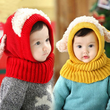 Winter Baby Hat Scarf Joint with Dog Style Crochet Knitted Caps for Infant Boys Girls Children Fashion Kids Neck Warmer CX987043(China)