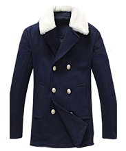 OULIU Men's British Style Fur Collar Double Breasted Wool Pea Coat
