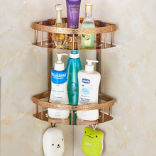 COROTO Rose Gold Bathroom Shelves Wall Mounted Finish Bathroom Shower Shampoo Shelf Basket Holder Fashion Double Layer T0077C