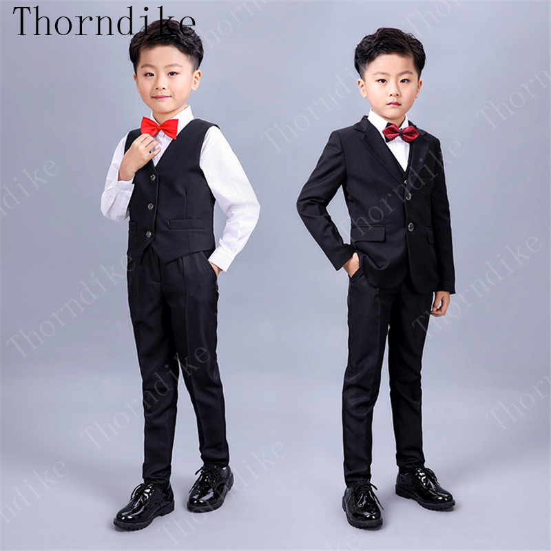 2018 new Brand Boys Solid Wedding Suit England Style Gentle Boys Formal Suit Children Clothing Sets 3 Pieces (Jacket+Vest+Pants)