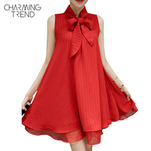 Charmingtrend Women Designer Maxi Dress 2017 Summer Dress for Ladies Red Dresses Tie Collar Bowknot Plain Mini Shift Dress