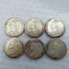 England UK A Set Of (1887-1892) 6pcs silver One Crown Queen Victoria Copy Coin(China)