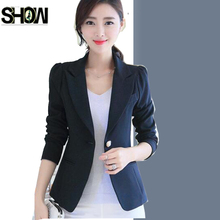 Wort Business Suits New Korean Style Design Women Fashion Slim Elegant Office Lady Blue Pink One Button Small Black Blazers(China)