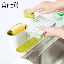 Kitchen Sponge Holder Detergent Box Dish Storage Rack Sink Self Draining Rack Bathroom Organizer Stands Soap Jewelry Rack