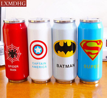 New Heros League Vacuum Flasks Straw Water Bottle 500ml Stainless Steel Beverage Can 1 PCS Free Shipping(China)