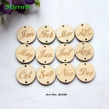 (12style, 120pcs/lot) 30mm 2 Holes Natural Wooden Disc Jan Feb March April May June July Aug Sept Oct Nov Dec Monthly Crafs-ZH38(China)