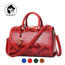 New Arrival National Style Embossing Women Tote Fashion PU Leather Ladies Shoulder Bag Floral Bowling Top Handle Bag