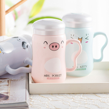 Thousands of easy cartoon animal cup ceramic mug with cover bulk milk cup office to drink a glass of water(China)