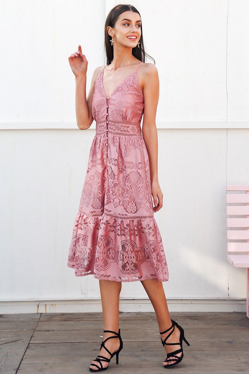 فستان للسيدان صيف 2018 مفتوح الاكتاف عالي الجودة باللونين الزهري والابيض 4