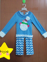 Giggle Moon Remake Girls Boutique Clothing Cute Blue Snowman Top Chevron Stripes Pants For Toddler Girls Christmas Wear C031