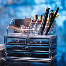 4 Drawers Acrylic Clear Plastic Lipstick Nail Polish  Cosmetic Jewelry Storage box Makeup Organizer Display Stand Holder Sundry