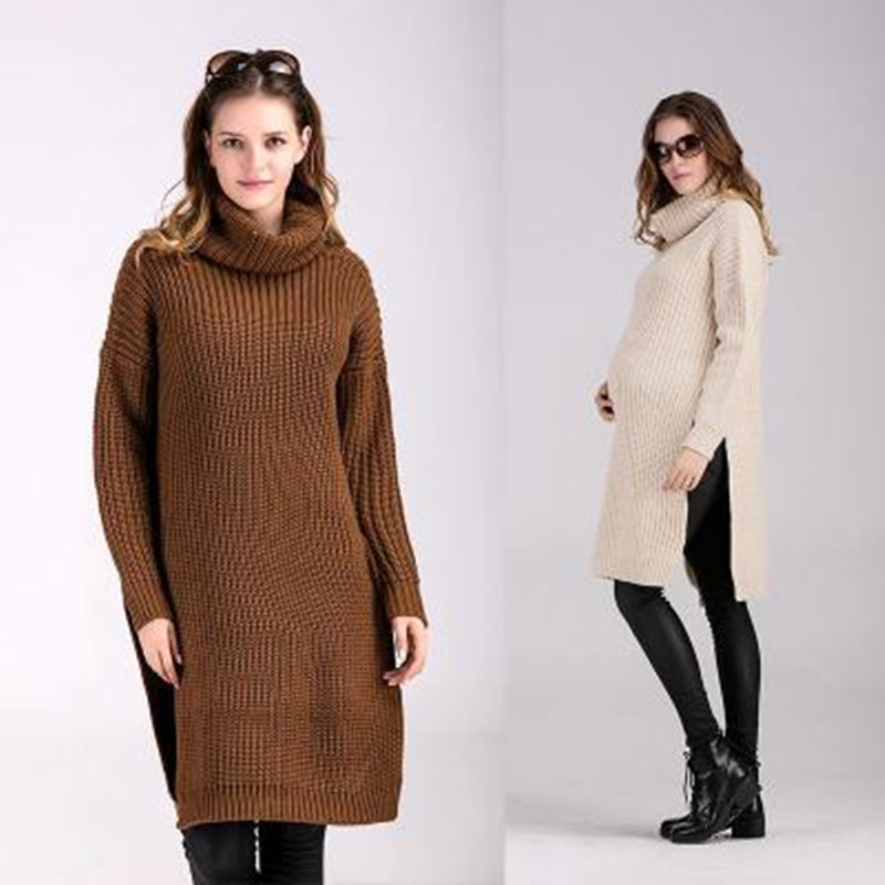 Maternity Clothes Autumn And Winter Long Cotton Loose Turtleneck Sweater Dresses Mother Dress Black Grey Green Coffe Cream Sale <br><br>Aliexpress