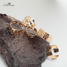 Nooxian Simple Design Hollow Gold Ring Set Women Costume Jewelry Summer Collection Charm Finger Jewelry Party Rings
