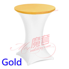 Gold colour spandex top cover for round cocktail lycra tablecloth wedding banquet and party cocktail table decoration wholesale