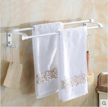 60cm Space Aluminum towel bars rack bathroom, 2 Types single/double towel bars, Toilet wall hanging towel bars shelf with hooks