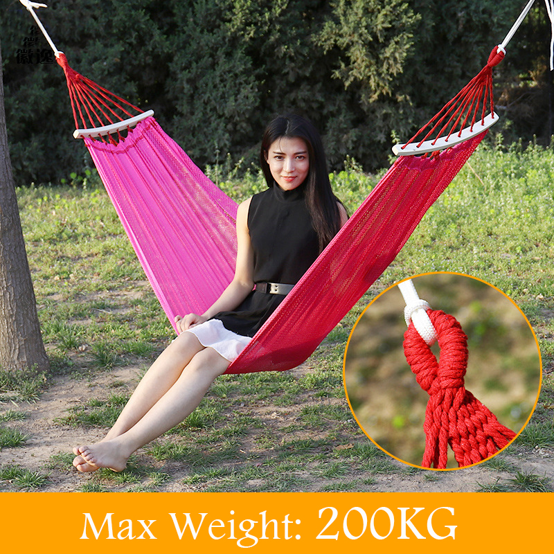 High density Polyester Net Camping Double Hammock Load Bearing 200Kg Durable Hammocks Like Parachute for Traveling Bushwalking<br>