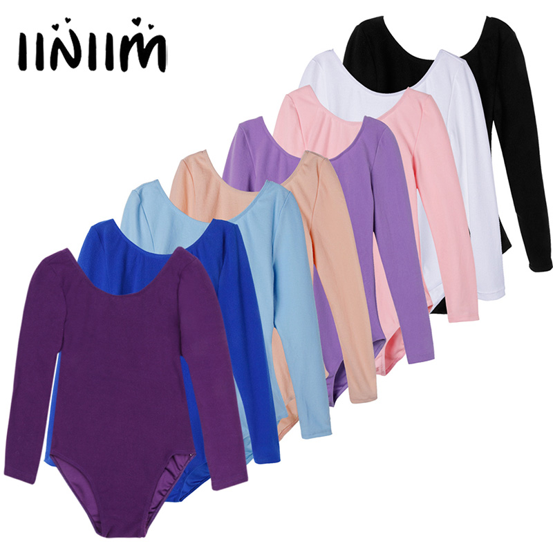 iiniim Girls Long Sleeve Ballet Dancer Leotard Dress for Dance Class Gymnastic Exercise Stage Performance Ballet Tutu Clothing