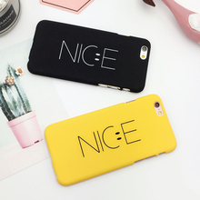 "LOVECOM Fashion Letter ""Nice"" Yellow Black Phone Back Hard PC Cover Coque For 5 5S SE 6 6S 7 Plus Mobile Phone Cases"