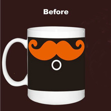 Moustache Caneca Chameleon Coffee Magic Mugs Changing Color 330ml Funny Ceramic Espresso Thermomug Tasse Cafe Mug
