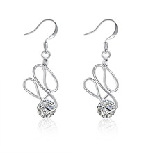 The new modern wind 925 market pure silver earrings with a simple line set of zircon women's earrings cocktail party(China)